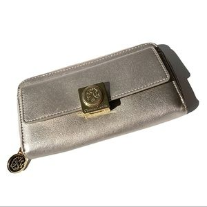 Christian Lacroix Silver Gold Snap Clasp Wallet